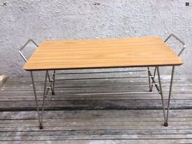 1950s Wood Effect Formica And Metal Atomic Inspired Coffee / Side Table - Mid Century Design