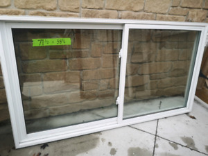 """2 large double slider thermal windows  71"""" 1/2 x 38"""" 1/4"""