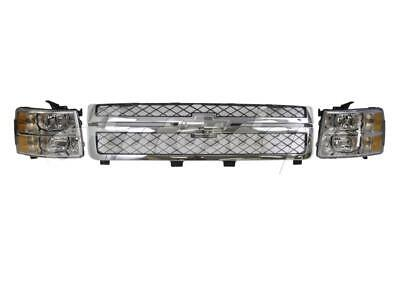 For 2011-2013 CHEVY SILVERADO 2500HD 3500 GRILLE GRAY W/CHR FRAME HEADLIGHT 3PCS