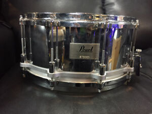 "Pearl 6.5"" Steel Free Floating Snare Drum, With extra 3.5"" shell"