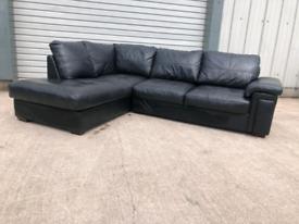 Large black faux leather corner sofa couch suite 🚚🚚