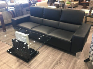 3 SEATER LEATHER SOFA - BLACK - MADE IN EUROPE