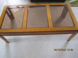 Beautiful hardwood Coffee table with 2 matching end tables