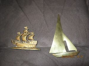 """Solid Brass Sail Boat Sailing Ship Paperweight 6"""" high"""