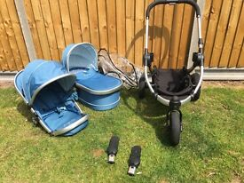 Icandy Peach jogger with carrycot and rain cover gumdrop blue.