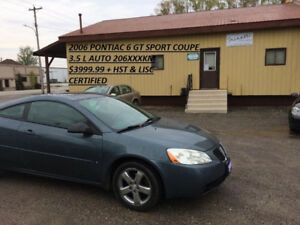 Sporty 2006 Pontiac G6 GT COUPE ONLY $3999.99 CERTIFIED