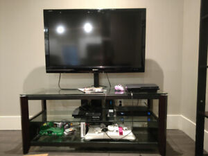 Dark Wood/Glass Entertainment Center