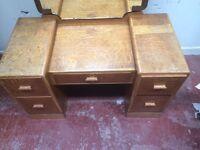 Knee hole vintage oak dressing table