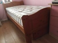 Heavy solid pine full size single bed frame
