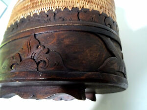 DOUBLE TIER basket lidded TURTLE LIZARD FISH carved INDONESIAN Cambridge Kitchener Area image 6