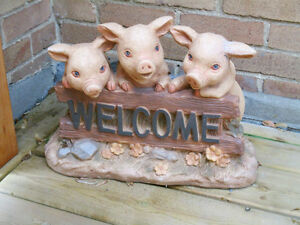 Cement Garden Statue - THREE LITTLE PIGS - Welcome