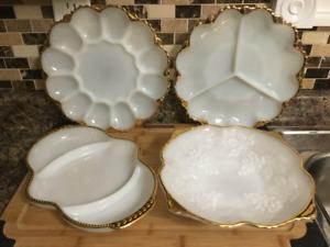 Vintage Milk Glass Serving Dishes