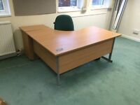Office corner desk with pedestal and chair