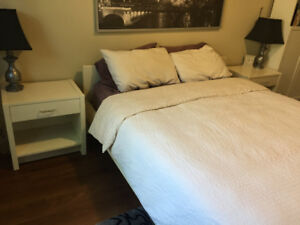 IKEA Malm bed and side tables  - White