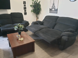 Scs grey fabric electric recliner 3+2 seater sofas