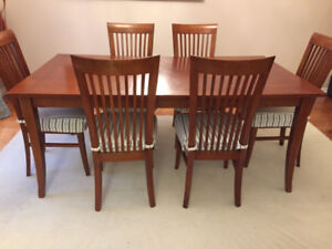 Solid Wood Table with 6 Upholstered Chairs