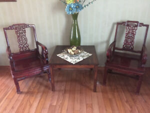 ANTIQUE ASIAN Rosewood ARMCHAIRS