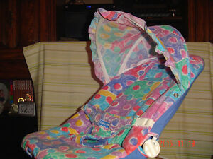 """FISHER PRICE"" MULTI COLOURED THEME BOUNCEY SEAT WITH SHADE HOOD"