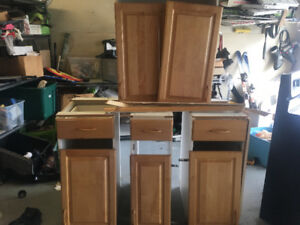 Solid pine kitchen/laundry room cabinets