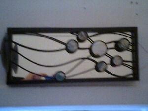 Applique murale chandelier en fer avec miroir et nacre de perle