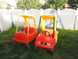 Two little tikes red cars
