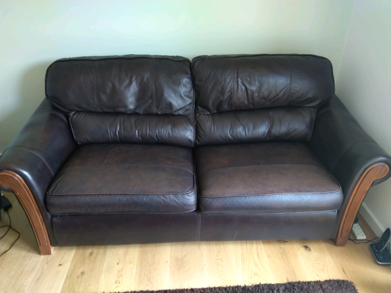Excellent Brown Leather Sofa Bed In Manchester Gumtree Creativecarmelina Interior Chair Design Creativecarmelinacom