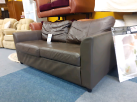Brown leather 2 seater sofa £85