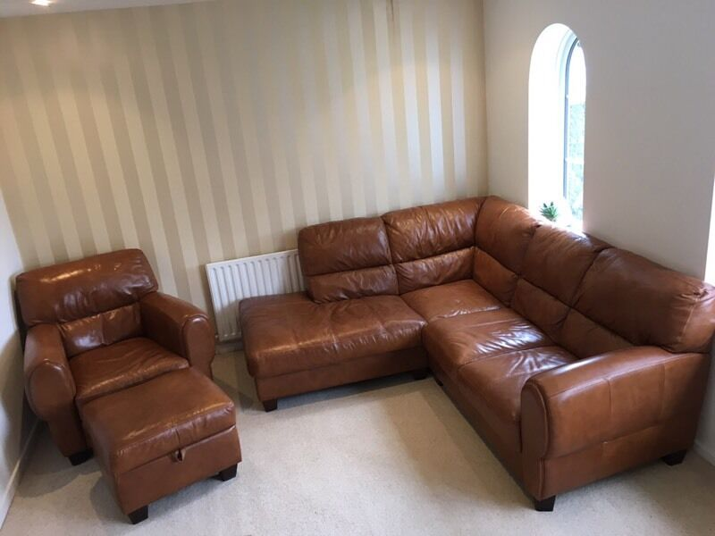 DFS Leather Sofa Set Including Corner Couch, Single Arm Chair And Stool
