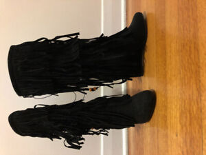 New! Knee High Boots Fringes Suede Mid calf - Size 6