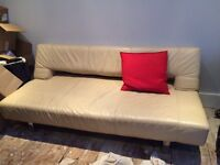 Cream leather sofa bed 3 seater STILL AVAILABLE