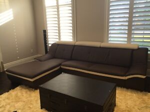 2 piece sectional leather couch sofa