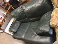 Green leather love seat $145