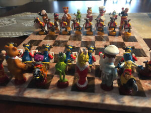 RARE MUPPETS 3-D CHESS SET WITH MATCHING MARBLE BOARD