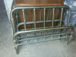 3 antique Brass bed frames 2 with rails - one 3/4 and two single