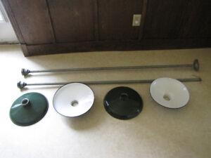 Antique Porcelain enameled shades and pendant
