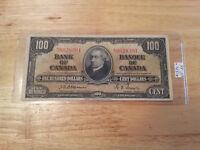 1937 Bank of Canada $100 Osborne signature. 54 known!