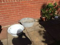 Vintage enamel bowls/planters and old tin bath