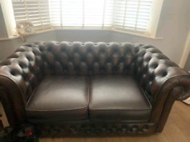 Leather Chesterfield sofa and one chair . L9 6aa