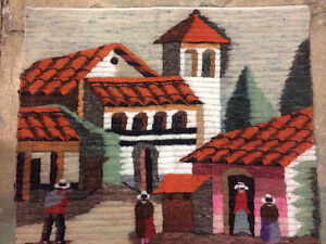 "Traditional Spanish Hand-woven Wool Rug Village Scene (32x36"")"