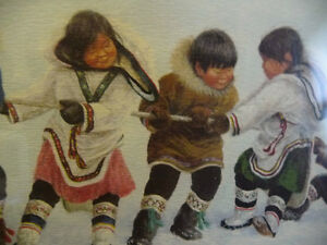 """Inuit Painting by Dorothy Francis """"Winning Side"""" Lithograph Stratford Kitchener Area image 5"""