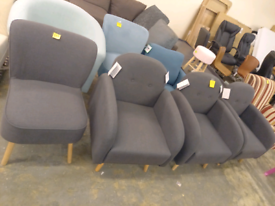 Fabric Arm Chairs Sofa Settee grey only £75 each. RBW Clearance Outlet