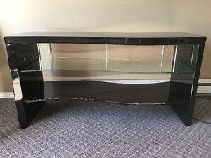 glossy black and glass tv table