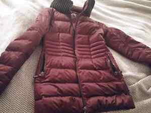 R w and co. Dark purple down jacket. Xs