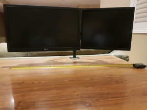 """Dual HD Computer Monitor Screen setup WITH MOUNT    38"""" wide!!"""