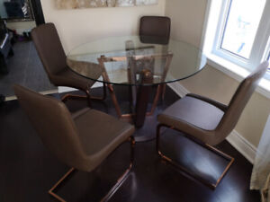 """48"""" Round Dining Glass Table with 4 Chairs"""