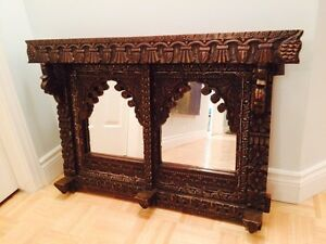 Double wooden antique mirror frame