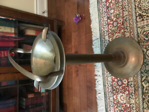 1940s standing vintage brass ashtray
