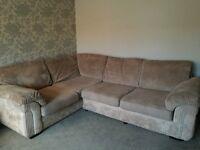 Corner sofa jumbo cord, love seat and footstool with storage
