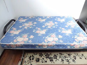 BLACK METAL FUTON with DOUBLE (FULL) GENTLY USED ORTHOPEDIC MAT