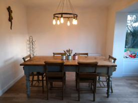 6 seater dining table, church style chairs .
